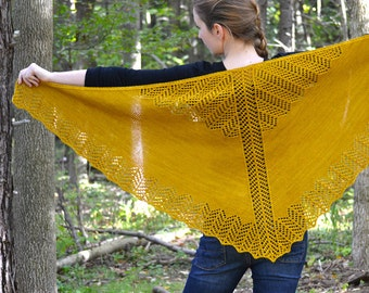 Shawl Knitting PATTERN PDF, Knit Shawl Pattern,  Lace Shawl, Triangle Shawl - Burning Leaves Shawl