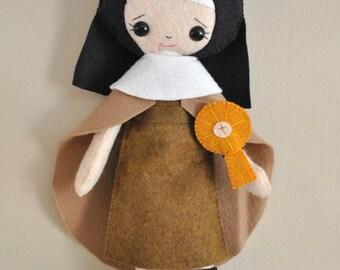 Catholic Doll - Saint Clare - Wool Felt Blend - Catholic Toy - Felt Doll