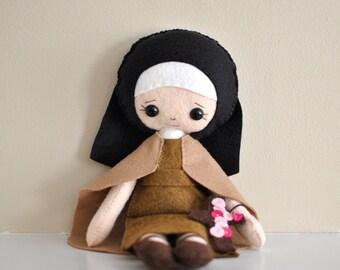 Catholic Toy Doll - Saint Therese of Lisieux - Wool Felt Blend - Catholic Toy - Felt Doll