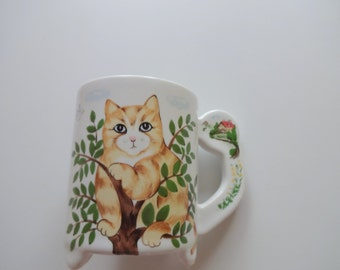 Vintage Cat in Tree Ceramic Coffee Mug 1980s