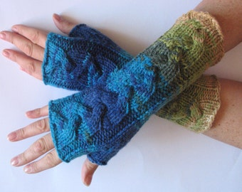 Fingerless Gloves Blue Turquoise Azure Beige Green Arm Warmers Knit Soft
