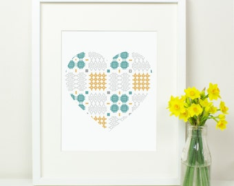 Welsh Blanket Pattern Heart Print. Welsh Love Cariad Caru. Wales. Shabby Chic. Grey. Yellow. Teal. Geometric patterns. St Dwynwens Day.