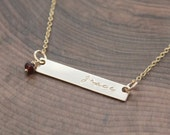 Gold Bar Necklace Personalized, GoldName Necklace With Natural Birthstone, Gold ID Necklace, Custom Gold Skinny Bar Necklace - Dee Necklace