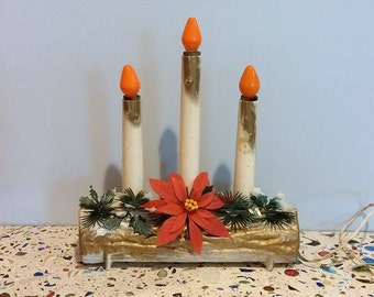 Vintage Christmas Poinsettia Candolier Electric Log FREE SHIPPIING - order 3 or more Christmas  listings