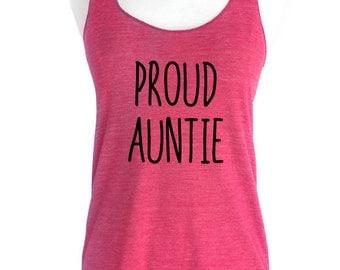 Proud Auntie Soft Tri-Blend Racerback Tank