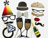 Photo Booth Props - 14 Piece Wedding Party Favor Set - Bridal Shower Photobooth Wedding Photo Props Birthday