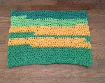 Eco Friendly Rag Rug, Green and Yellow Throw Rug,  Upcycled T-Shirts, Accent, Toss, Scatter Rug