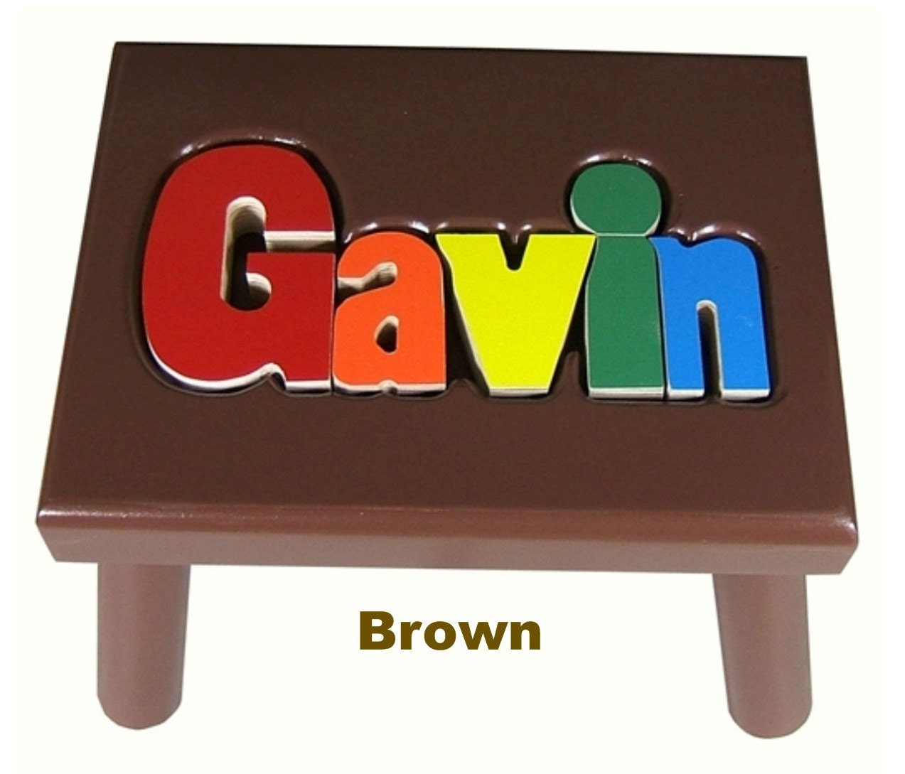 Brown Name Puzzle Stools
