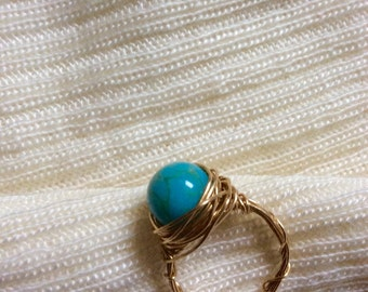 Turquoise & Gold Wire Wrapped Ring Size 5.5