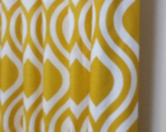 Curtain Panels 24W or 50W x 63, 84, 90, 96 or 108L in Premier Prints Corn Yellow and White Emily