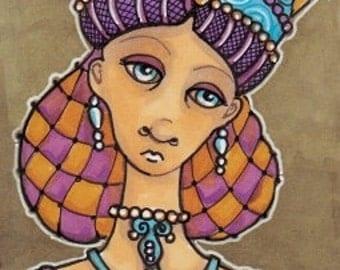 Art Card Original, Beautiful Lass in Snood ACEO