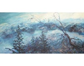 Original Oil Painting Snow Landscape, Mountains Trees Blue, Shirin Mackeson