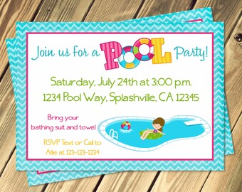 Pool Party Invitation Print Your Own