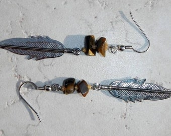 Vintage Earrings Silver Metal Feather and Tigers Eye Stone