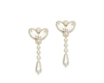 Silver pearl long drop wedding earrings