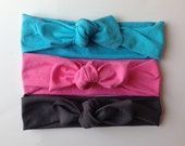 Jersey knit knotted headbands - baby,child, adult headwrap and turban- set of three