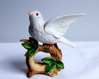 Dave Grossman white dove on a branch figurine