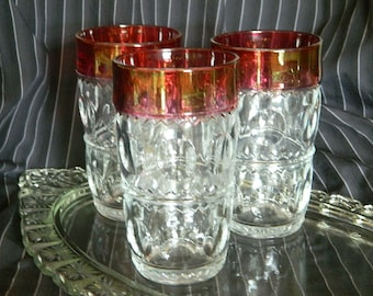 Vintage Ruby Red Cranberry Glasses set of 3