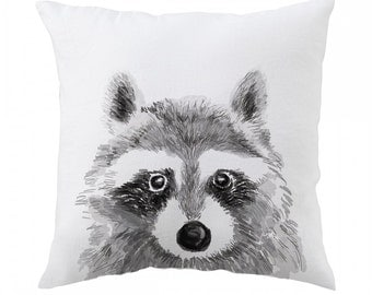 Raccoon Pillow 18x18 inch - Decorative Cushion Cover Accessories - Throw Pillow Cover - Whimsical, Cushion, Nursery