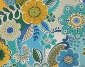Two 18 x 18  Custom Designer Decorative Pillow Covers for Indoor/Outdoor -  Large Floral - Blue,  Yellow, Teal. White