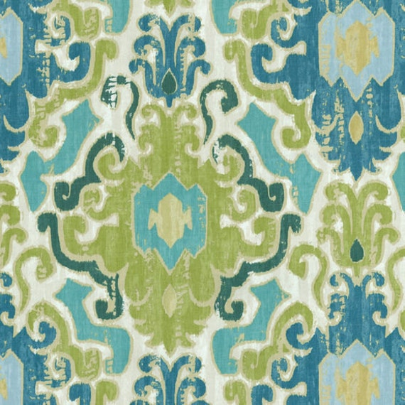 "Two  96"" x 50""  Custom Curtain Panels  - Damask  Tile - Aqua, Blue, Green and Ivory"