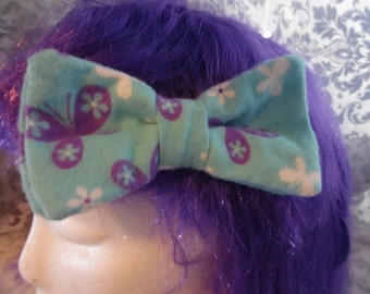 Blue with Purple Butterflies Double Layer Hair Bow Clip