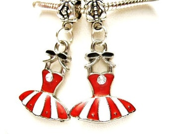 2  Red & White Dress, Enamel  Dangle Charm w/ Clear Crystal,  European Beads,  Bracelet Charm or Pendant, Tibetan Silver