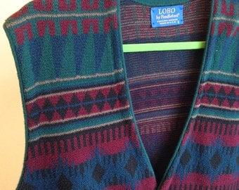 Pendleton Lobo vest wool mens blanket coat Southwestern pattern vintage wool size L
