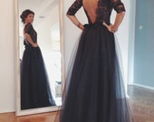 Maxi Black Open Back Lace Evening Gown Tulle Skirt Prom Ball Wedding