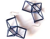 Geometric Long Earrings with Gunmetal Beads and Silver Ear Hooks