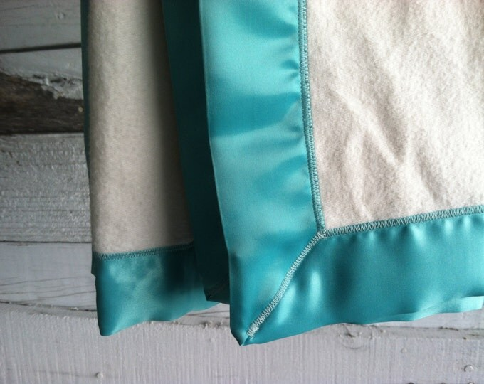 GOTS Organic Cotton Fleece Blanket with Aquamarine Satin Trim Baby Blanket - Made to Order