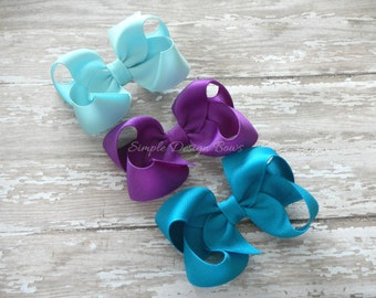 "Hair Bows - Set of 3 Hair Bows - 3"" Twisted Boutique Bows - YOU PICK - 108 Colors - Solid Bows - Basic Bows - Simple Bows - Set of 3,4,6,10"