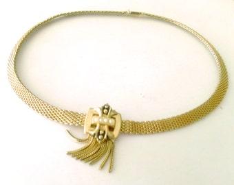 Fleur De Lis Gold Tone Choker Necklace True Vintage Retro Jewelry