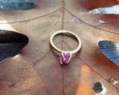 Rough Ruby Gemstone Ring, Bronze Claw Setting