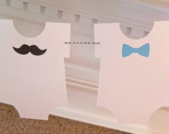 Party Banner: Little Man Bow Tie and Mustache Bodysuit Garland - one piece romper Baby Shower or Birthday Party die cut mustaches ties