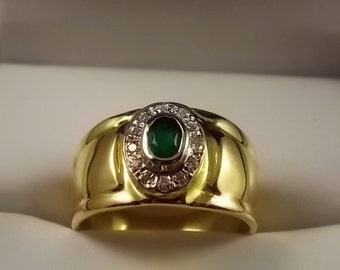 Green Tourmaline and Diamond Cigar Band Ring 12mm wide .42Ctw Yellow Gold 18K Size 8.5