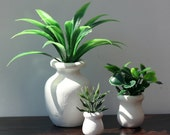 1:6 scale 3 Plants in white pots for OOAK Dollhouse or Diorama (Blythe, Barbie, 12'' Fashion dolls, Bratz, Momoko)