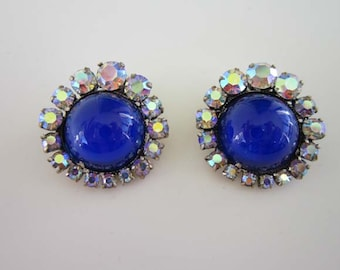 Bright Beautiful Blue Cabochon with AB crystals signed made in Austria