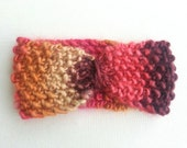 Knitted Headband / Ear Warmer - Boho Turban Style Winter Headband in Sunset - Pink - Women's, Gift for Her - Ships from Canada