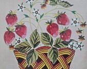 Vintage Bucilla Needlecraft Strawberry Basket Pillow