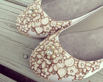 Spring Garden Bridal Ballet Flats Wedding Shoes - Any Size - Pick your own shoe color and crystal color