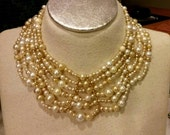 OOAK RePurposed Mixed Pearl Egyptian Collar Bib Necklace Gold Tone