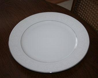Vintage Diamond China Charm Pattern Round Serving Platter White on White Embossed Design Silver trim