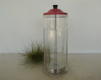 Salon Barbicide Jar Barbers Disinfectant Germicide Glass Canister Red Metal Lid