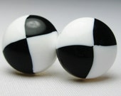 RESERVED FOR JULIE Vintage Lucite Earrings - Black and White Plastic - Pierced - Handmade