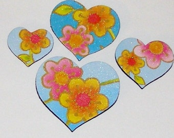 4 Flower Heart Magnets - RECYCLED GREETING CARD