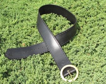 "Handcrafted Kilt Belt hand tooled solid brass Celtic buckle 3""  Irish Leather Works original"