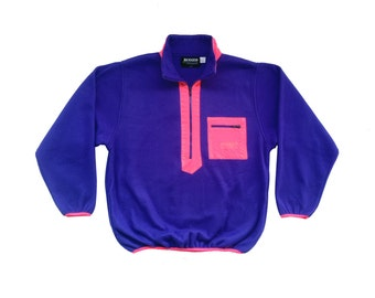 Rad 90s Rugged Terrain Neon Salmon Accented Fleece Pullover - L / XL