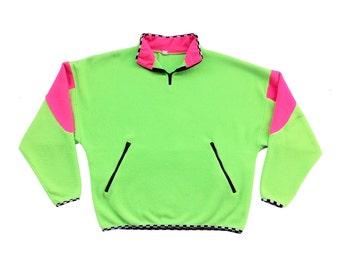 Wild 80s Dual Neon Checkerboard Fleece Pullover - M / L