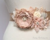"Bridal Blush Champagne Sash ""Joy"" Wedding Ribbon Flower Sash/ Handmade Accessory"